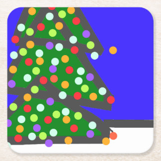 Christmas tree with bulb dots on blue. XMAS13 Square Paper Coaster