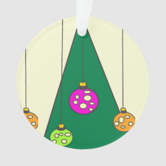 Christmas tree with bulbs on pale yellow XMAS14 Ornament