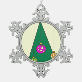 Christmas tree with bulbs on pale yellow XMAS14 Snowflake Pewter Christmas Ornament