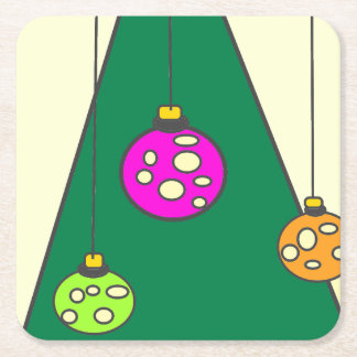 Christmas tree with bulbs on pale yellow XMAS14 Square Paper Coaster