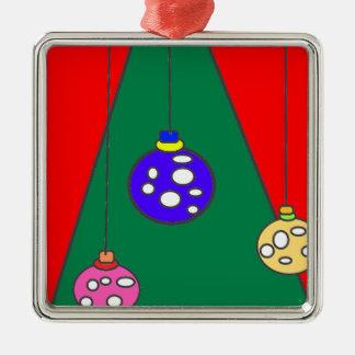 Christmas tree with bulbs on red XMAS15 Metal Ornament