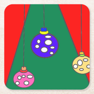 Christmas tree with bulbs on red XMAS15 Square Paper Coaster