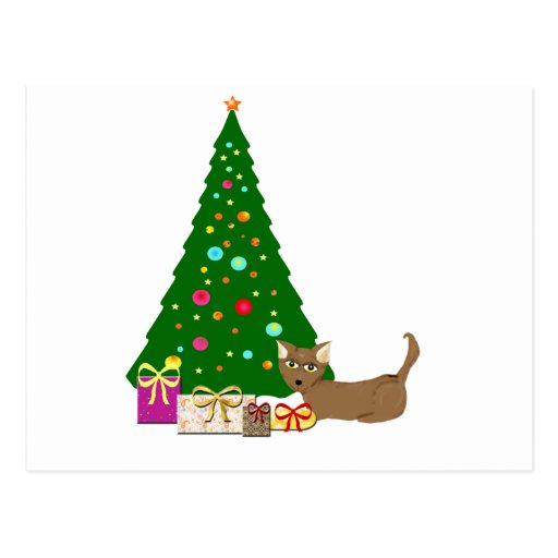 Christmas Tree with cat Postcard