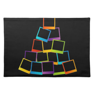 Christmas tree with colorful polaroids place mats