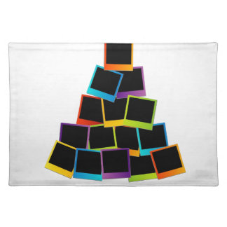Christmas tree with colorful polaroids placemat