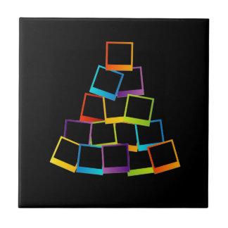 Christmas tree with colorful polaroids ceramic tile