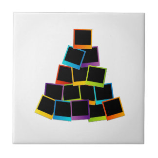 Christmas tree with colorful polaroids tile