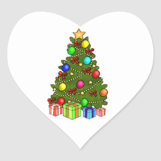 Christmas Tree with Decorations Heart Sticker