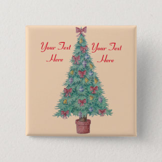 Christmas tree with decorations red bows bells art button