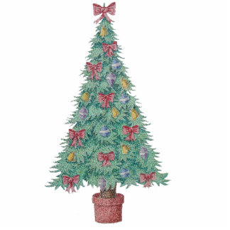 Christmas tree with decorations red bows bells art cutout