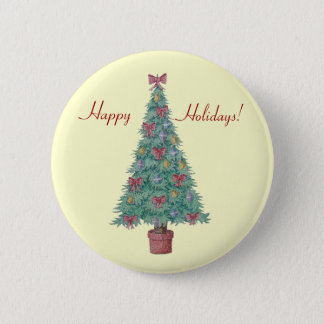 Christmas tree with decorations red bows bells art pinback button