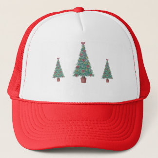 Christmas tree with decorations red bows bells art trucker hat