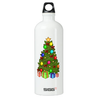 Christmas Tree with Decorations Water Bottle