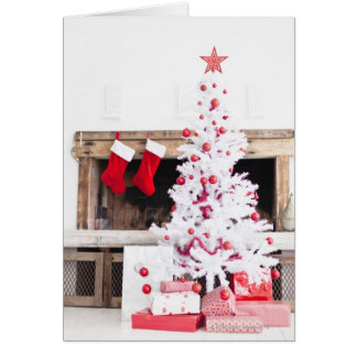 Christmas tree with gifts and stockings card