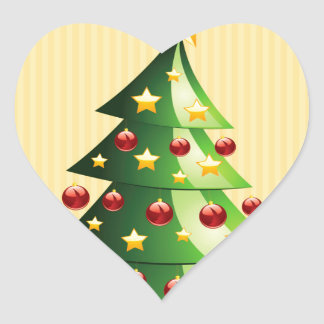 Christmas tree with gifts heart sticker