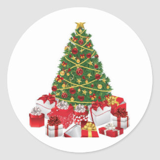 Christmas Tree with Gifts Classic Round Sticker
