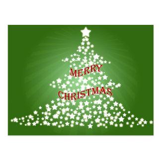 Christmas Tree with Glowing Stars Postcard