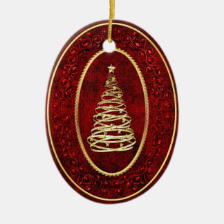 Christmas Tree with Gold Accents Ceramic Ornament
