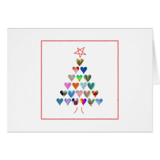 Christmas Tree with Hearts - blank card