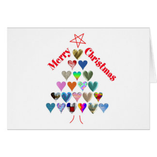 Christmas Tree With Hearts Card