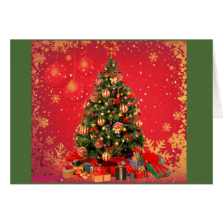 Christmas tree with holiday presents beneath card