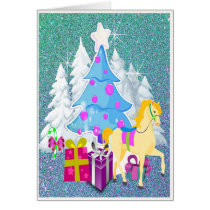 Christmas Tree With Horse and Gifts  FAUX Glitter Card