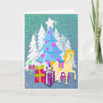 Christmas Tree With Horse and Gifts  FAUX Glitter Holiday Card