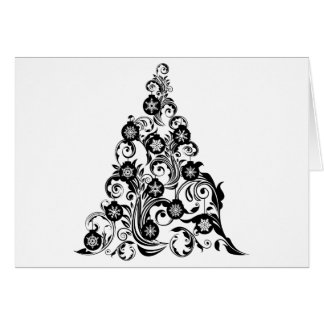 Christmas Tree with Leaf Swirls Design and Ornamen Card