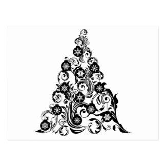 Christmas Tree with Leaf Swirls Design and Ornamen Postcard