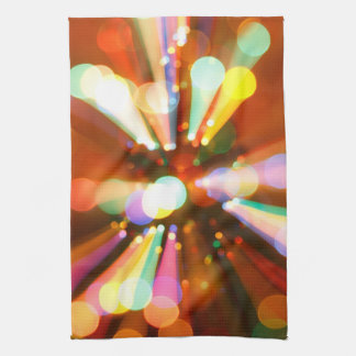 Christmas tree with light beams kitchen towel