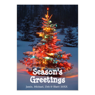 Christmas Tree with lights outdoors Card