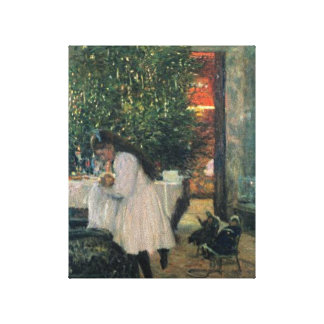 Christmas Tree with Little Girl and Baby Drawing Canvas Print