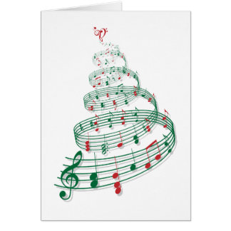 Christmas tree with music notes greeting card