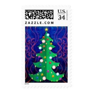 Christmas tree with ornaments postage