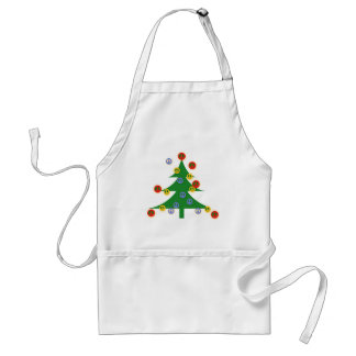 Christmas Tree with Peace Signs Adult Apron
