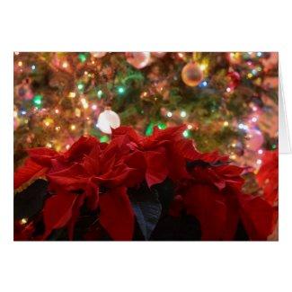 Christmas Tree with Poinsettias Greeting Card