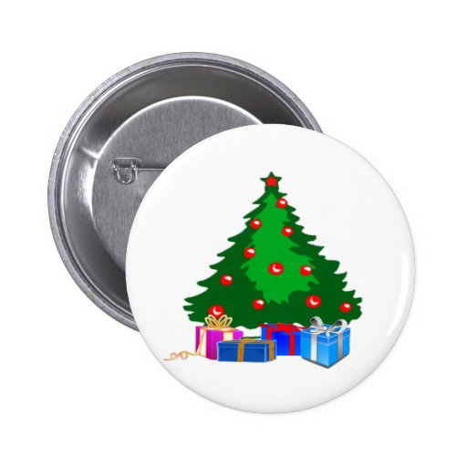 Christmas Tree with Presents 2 Inch Round Button