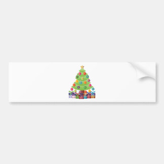 Christmas Tree with Presents and Ornaments Bumper Sticker