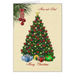 Christmas tree with presents for Mom and Dad card