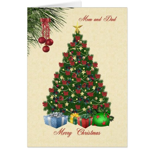 Christmas tree with presents for Mom and Dad card Sales 40