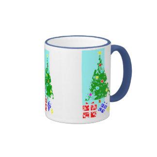 Christmas tree with presents mugs