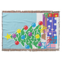 Christmas Tree with Presents Throw Blanket