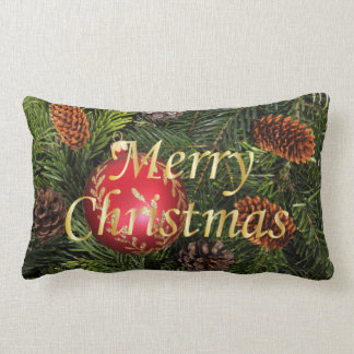 Christmas Tree with Red Ornament Pillow