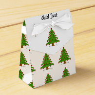 Christmas Tree with Red Ornaments Favor Box