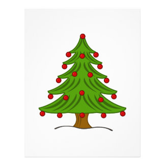 Christmas Tree with Red Ornaments Flyer Design