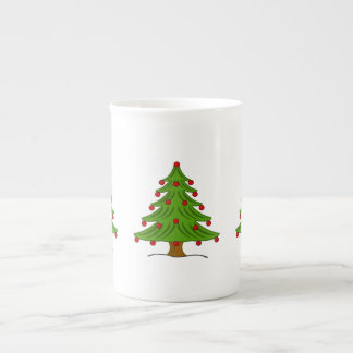 Christmas Tree with Red Ornaments Bone China Mugs