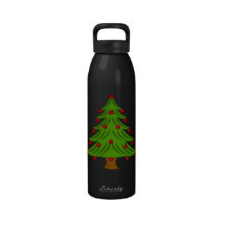 Christmas Tree with Red Ornaments Water Bottles