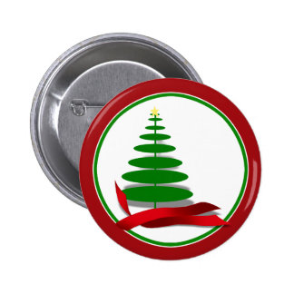 Christmas Tree with Red Ribbon 2 Inch Round Button