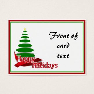 Christmas Tree with Red Ribbon Business Card