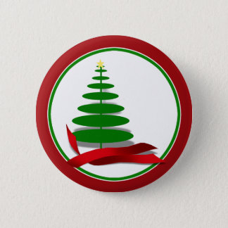 Christmas Tree with Red Ribbon Button